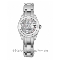 Replica Rolex Pearlmaster 81339 Mother of Pearl Diamond Dial Women's Watch 34MM