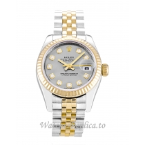 Rolex Datejust Lady Silver Diamond Dial 179173 26MM