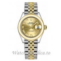 Replica Rolex Lady-Datejust 279163-0009 Champagne Dial Watch 28MM
