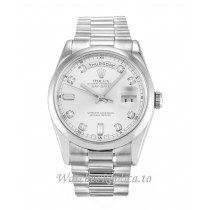 Rolex Day-Date Silver Diamond Dial 118209-36 MM