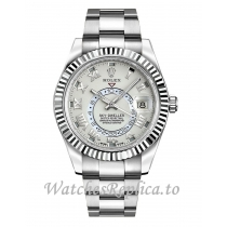 Replica Rolex Sky-Dweller 326939-0001 White Gold Strap 42mm