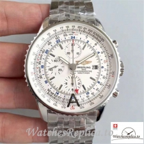 Swiss Breitling Navitimer World Replica A2432212/G571-443A Silver Strap 43MM