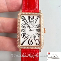 Swiss Franck Muller Long Island Ladies Replica 952 QZ D CD Red Strap 36.5MM×26MM
