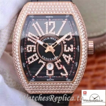 Swiss Franck Muller Vanguard Replica V45.SC.DT.D.NBR.CD.5N.NR Black Strap 44 MM × 54 MM