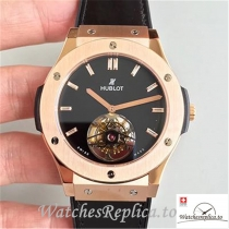 Swiss Hublot Classic Fusion Tourbillon Replica 505.OX.1180.LR Black Strap 45MM