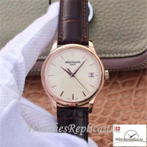 Swiss Patek Philippe Calatrava Rose Gold Replica 5227R-001 Black Strap 39MM×10.2MM