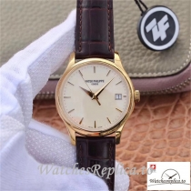 Swiss Patek Philippe Calatrava Yellow Gold Replica 5227J-001 Black Strap 39MM×10.2MM