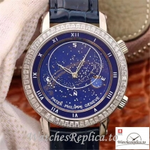 Swiss Patek Philippe Grand Complications Sky Moon Celestial Replica 5102G 001 Black Strap 43MM