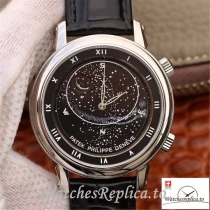 Swiss Patek Philippe Grand Complications Sky Moon Celestial Replica 5102G Black Strap 43MM