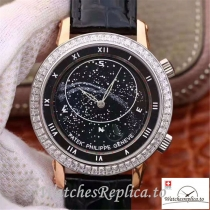 Swiss Patek Philippe Grand Complications Sky Moon Celestial Replica 5102PR Black Strap 43MM