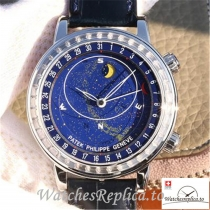 Swiss Patek Philippe Grand Complications Sky Moon Celestial Replica 6102P-001 Black Strap 43MM