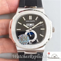 Swiss Patek Philippe Nautilus Annual Calendar Moonphas Replica 5726A Black Strap 40.5MM