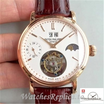 Swiss Patek Philippe Tourbillon Moonphase 24H Power Reserve Replica Brown Strap 42MM