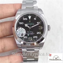 Swiss Rolex AIR King Replica 116900 001 Black Dial 40MM