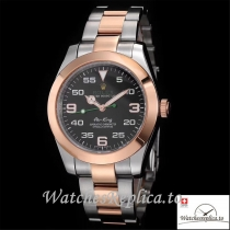 Swiss Rolex Air King Replica 116900 Rose Gold Bezel Black Dial 40MM