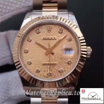 Swiss Rolex Datejust 126333 007 Rose Gold Dial 41MM