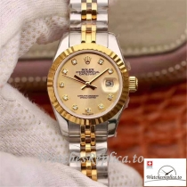 Swiss Rolex Datejust Replica 19967 Yellow Gold Dial 28MM