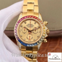 Swiss Rolex Daytona Cosmograph Replica 116598RBOW 001 Gold Strap 40MM