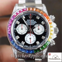 Swiss Rolex Daytona Cosmograph Rainbow Replica 116595RBOW Silver Strap 40MM