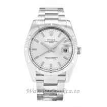 Rolex Oyster Perpetual Date Silver Dial 115210-34 MM