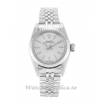 Rolex Lady Oyster Perpetual Silver Dial 67194-24 MM