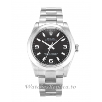 Rolex Lady Oyster Perpetual Black Dial 177200-31 MM