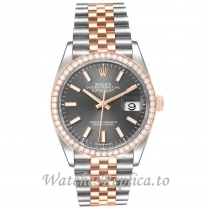 Replica Rolex Datejust Rose Gold Diamond Unisex Watch 126281 36MM