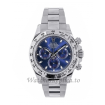 Rolex Replica Cosmograph Daytona White Gold Blue Index Dial 40MM Watch 116509