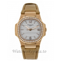 Patek Philippe Nautilus Rose Gold Diamond Bezel 32MM Watch 70101R011