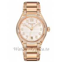Patek Philippe Replica Twenty 4 Rose Gold Silver Diamond 36MM Watch 73001200R001