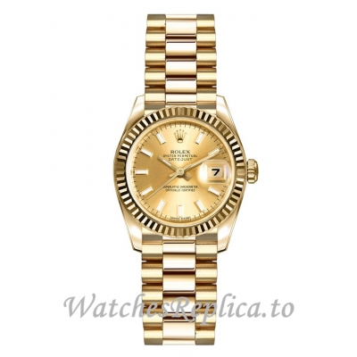 Rolex Lady Datejust Replica 179178 Solid 18k Yellow Gold 26mm Watch