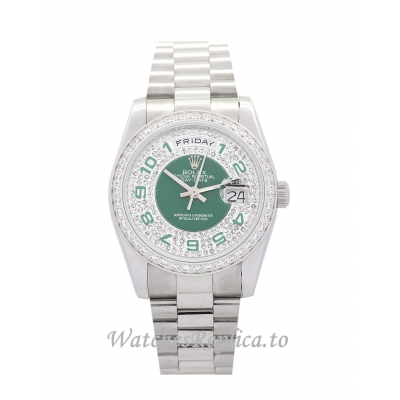 Rolex Day Date Green and Silver with Diamonds Dia 36MM