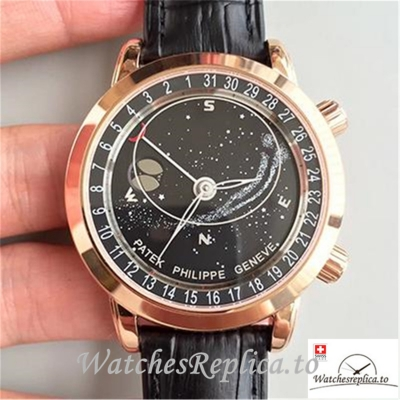 Swiss Patek Philippe Grand Complications Sky Moon Celestial Replica 6102R-001 Black Strap 43MM