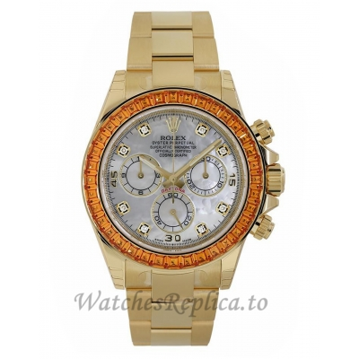 Rolex Replica Cosmograph DaytonaYellow Gold Orange Sapphire MOP Dial Watch 116578SACO