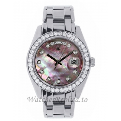 Rolex Replica Pearlmaster Datejust White Gold Dark MOP Diamond Dial 29MM Watch 80299