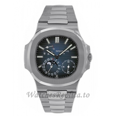 Patek Philippe Replica Nautilus Stainless-Steel Moon Phase Date 40MM Watch 57121A001