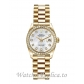 Rolex Lady Datejust  Replica 179138 Mother of Pearl Diamond Dial Gold Watch 26MM